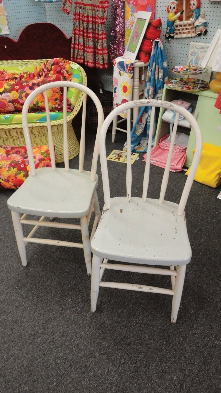 Vintage Shabby Farm Chairs