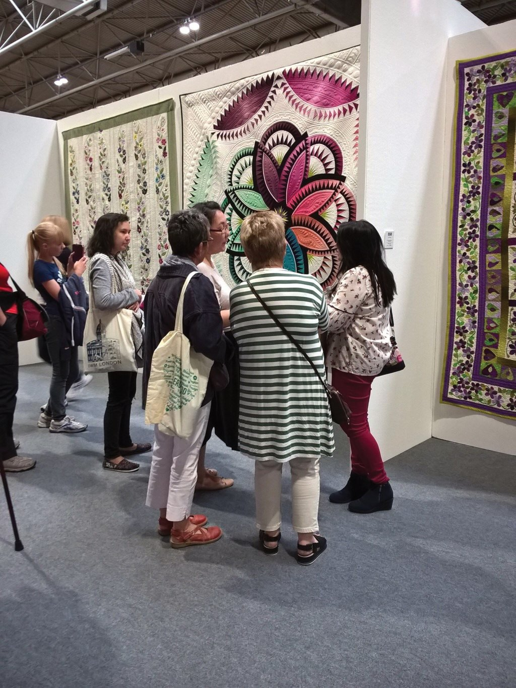 Chatting to visitors at Festival of quilts